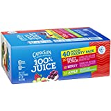Capri Sun All natural 100% Juice Variety Pack, Fruit Punch, Apple, Berry and Grape),  6 fl. oz. Pouches, 40 Count
