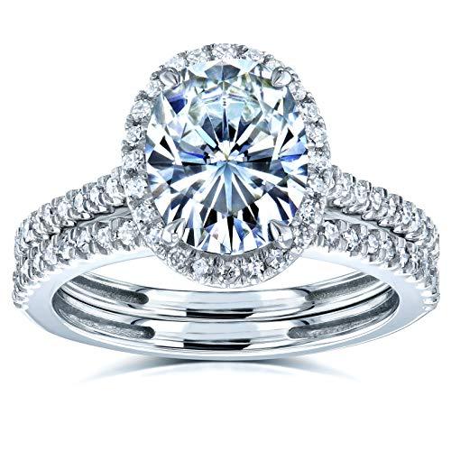 Oval Moissanite Halo Bridal Rings Set 2 3/8 CTW 14k White Gold, 7.5