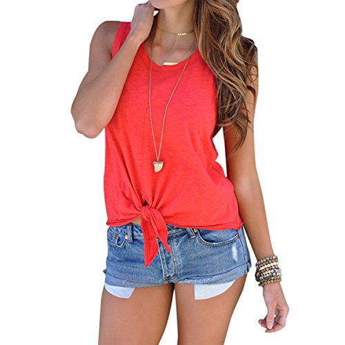 Domy Women's Casual Summer Top Sleeveless Tie Front Knot Blouse Cami Tank Tops (M, Red) by Domy