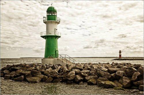Leinwandbild 60 x 40 40 40 cm  Grün und roter Leuchtturm an der Hafeneinfahrt von Warnemünde von Editors Choice - fertiges Wandbild, Bild auf Keilrahmen, Fertigbild auf echter Leinwand, Leinwanddruck 70e843