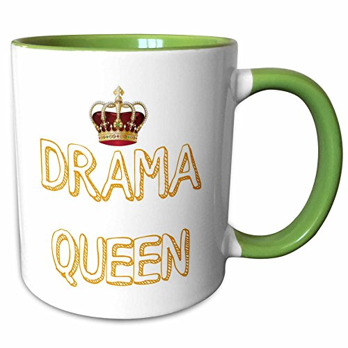 - 3dRose 220124_7 Drama Queen with a picture of a crown, Green Mug, 11 oz