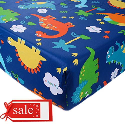 Crib Sheet UOMNY 100% Natural Cotton Crib Fitted Sheets Baby Sheet Set for Standard Crib and Toddler mattresses Nursery Bedding Sheet for Boys and Girls 1 Pack Dinosaur