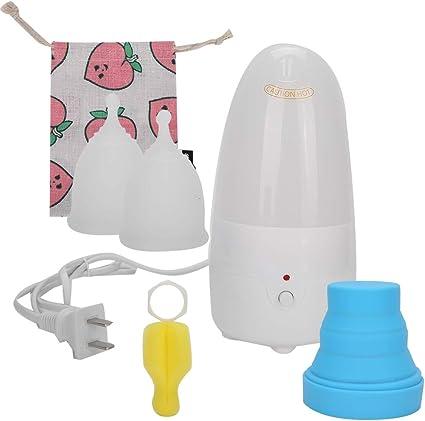 Esterilizador de copa menstrual plegable y esterilizador de vapor de copa menstrual, kit de copa menstrual orgánica, 2 tazas, vaporizador portátil de ...