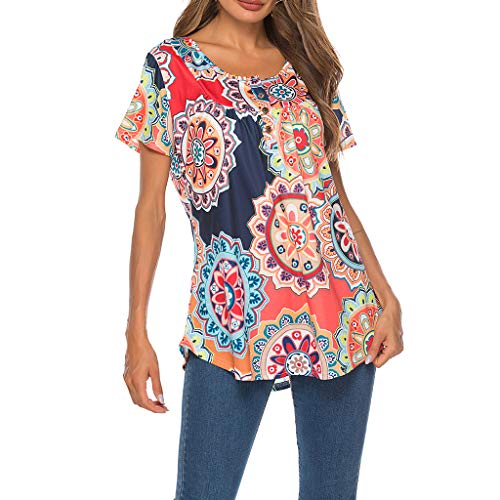 (OrchidAmor Women's Fashion Short Sleeve with Buttons Summer Print T-Shirts Tops Red)