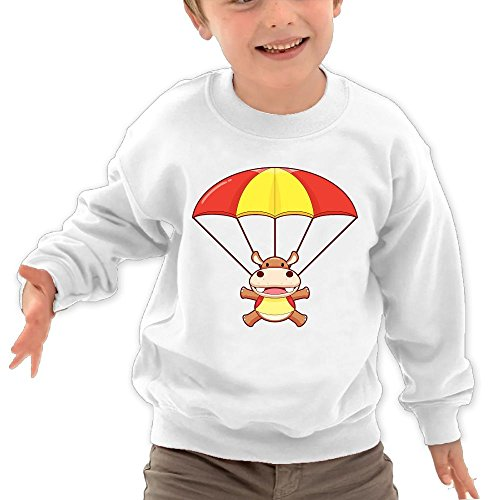 Price comparison product image Puppylol Hippopotamus And Parachute Kids Classic Crew-neck Pullover Hoodie White 3 Toddler