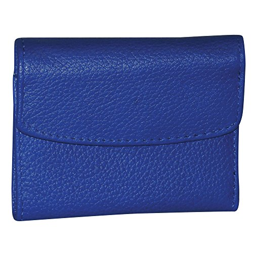 Buxton Women's Leather Mini Tri-Fold Wallet, Ultramarine Blue