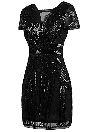 Robes col de en cocktail Femme bal Pur Inspire de Noir 1920 court V Paillettes en Annes Vijiv cravate qxH7wBIRFq