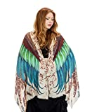Hand Painted & Digitally Printed Pure Cotton Exotic Bird Wings Feathers Women's Scarf Shawl