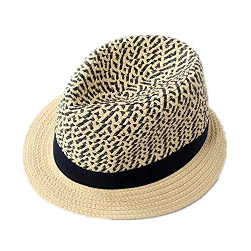 LLmoway Toddler Boy Fedora Hat Kids Straw Trilby Cap Boys Summer Breathable Panama Cuban Beach Hat