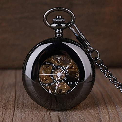 YXZQ懐中時計、ヴィンテージ自動機械式男性中空絶妙なチェーンスムーズケースペンダント時計メンズレトロ黒時計