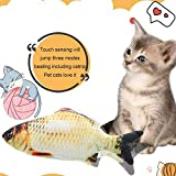 Foonee Dancing Fish Catnip Toy, Inductive Touch Wiggle Moving Electric Fish Doll, Simulation Fish Shape Plush Doll Interactive Pets Pillow Chew Bite Kick Supplies for Cats Kitten