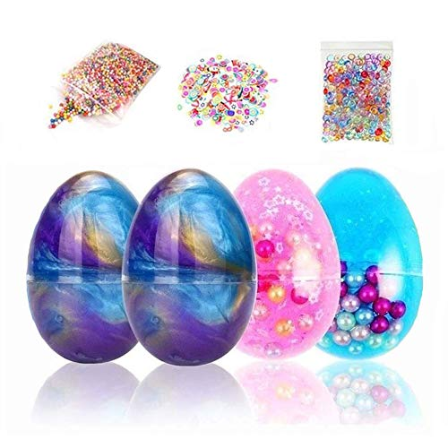 (Simuer Egg Slime Putty Galaxy Crystal Mud Fluffy Slime Magic Plasticine Toys with Fruit Slices,Fishbowl Beads,Foam Balls,4+3 Pack)