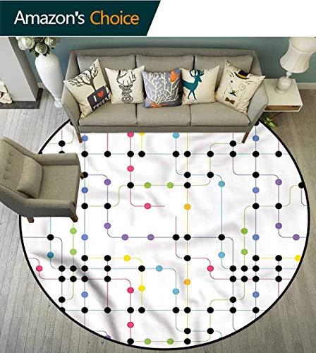 RUGSMAT Colorful Round Rug Kid Carpet,City Metro Scheme Coffee Table Mat Non-Skid Living Room Carpet - Table Round Coffee Metro