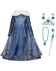 FZCRRDU KOCCAE Elsa meisjeskostuum met cape, sneeuwvlokken, jurk met pluche kraag, voor kinderen, prinsessenjurk, carnavalskostuum, party, cosplay, carnaval, Halloween, kerstfeest, kostuum, blauw