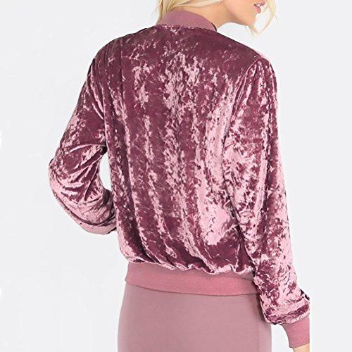 Classiche Lunga Casual Giacca Con Rosa Slim Giubbotto Bomber Sweatercoat Fit Elegante Invernali Puro Rosso Moda Manica Unique Velluto Cerniera Colore Giovane Outerwear Giacche Autunno Donne Vintage Donna nrPRf7nzx