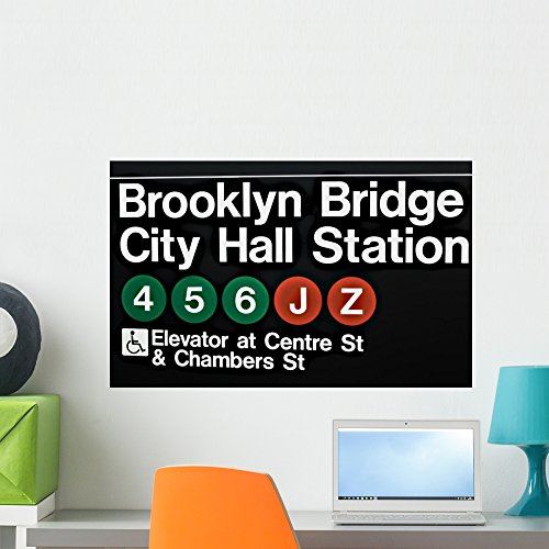 Wallmonkeys FOT-30396558-24 WM214655 Sign in Subway Station in New York Peel and Stick Wall Decals (24 in W x 15 in H), Medium