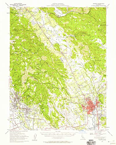 (YellowMaps Sonoma CA topo map, 1:62500 Scale, 15 X 15 Minute, Historical, 1951, Updated 1958, 20.7 x 16.6 in - Paper)
