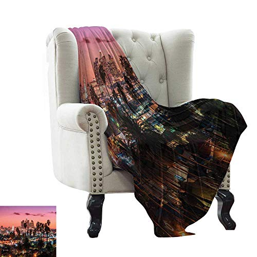 WinfreyDecor Living Room/Bedroom Warm Blanket Vibrant Sunset Twilight Scenery Los Angeles Famous Downtown with Palm Trees All Season Premium Bed Blanket 70