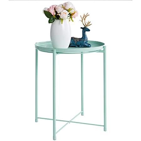 HollyHOME Tray Metal End Table, Sofa Table Small Round Side Tables, Anti-Rust and Waterproof Outdoor Indoor Snack Table, Accent Coffee Table, H 20.28 x D 16.38 , Teal