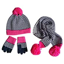 3PCS Baby Kids Fashion Stripes Beanie Knitted Hat Cap+Scarf+Gloves Set 2-4T, Red