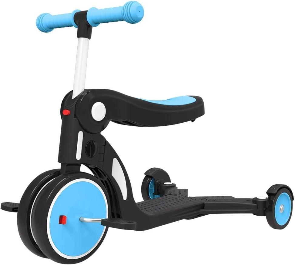 ZQY Los niños de Scooter 3 en 1 for niños Interior de Bicicleta de Ejercicios 1-3-6 bebé de los años Equilibrio Bicicletas Multifuncional Bicicleta Triciclo Coche de bebé (Color : Blue, Size : A)