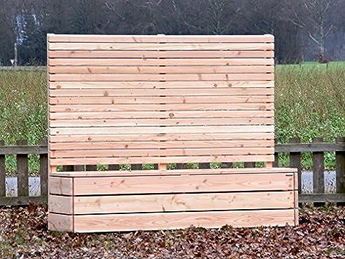 Pflanzkübel Holz lang mit Sichtschutz, Douglasie Natur: Amazon.de ...