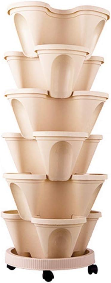 Aquarius CiCi 6 Tier Stacking Flower Pot Tower Stackable Vertical Plastic Garden Planter Vegetable Flower Strawberry Planter Pot Grow Fresh Herbs Indoor Outdoor Beige