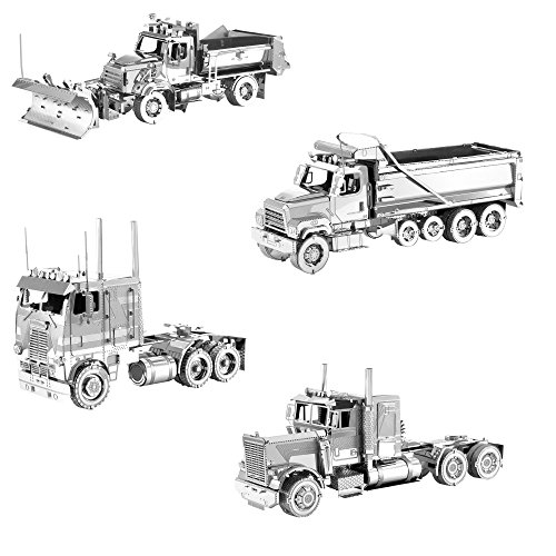 Fascinations Metal Earth 3D Metal Model Kits Freightliner Set of 4 - Long Nose Truck - COE Truck - Dump Truck - Snow -