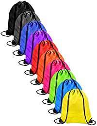 10 Pieces Drawstring Bag Sack Pack Cinch Tote Kids Adults Storage Bag for Gym Traveling (Multicolored)