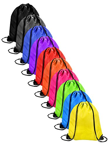 Shappy 10 Pieces Drawstring Bag Sack Pack Cinch Tote Kids Adults Storage Bag for Gym Traveling (10 Colors) ()