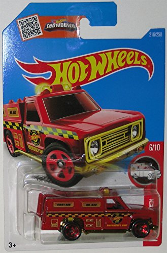 New Hot Wheels 2016 HW Rescue HW Rapid Responder Fire Truck 216/250, Red free shipping