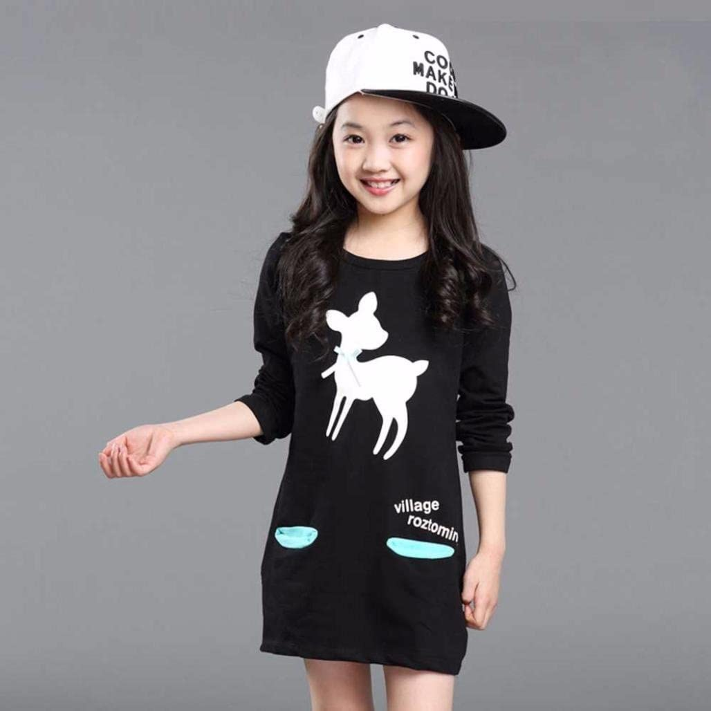 Forestime Fashion Infant Children Kids Long Sleeves Deer with Bowknot Princess Dress Clothes