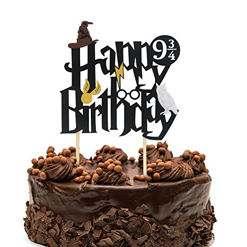 TiiMi Party Double Sided Glitter Black Harry Potter Inspired Happy Birthday Cake Topper Wizard Party Supplies
