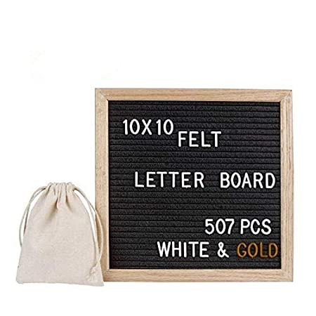 LiDiwee Changeable Felt Letter Board - 507 Pcs White and Gold Plastic Characters - 10x10 Inch Home Office Wooden Message Board, Oak Wood Frame, Wall Mount, with Stand and Free Linen Bag (Grey)