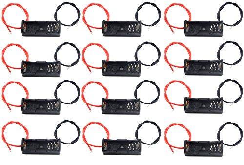 WAYLLSHINE 12 Pcs/1 Dozen 12V 23A Battery Spring Clip Black Plastic 1x23A Battery Case Holder Box 4.3 Inch Black Red Wire Leads