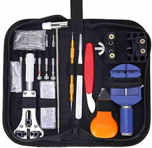 Hausse 147 Pcs Watch Repair Tool Kit Professional Spring Bar Tool Set Watch Band Link Pin Tool with Carrying Bag (147pc)