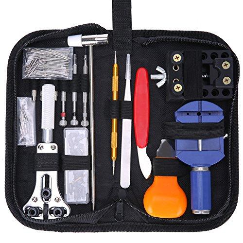 Hausse 147 Pcs Watch Repair Tool Kit Professional Spring Bar Tool Set Watch Band Link Pin Tool with Carrying Bag (147pc) ()