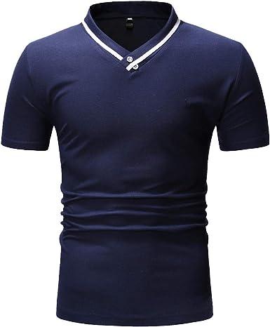 TIFIY Verano Nuevo 2019 Camiseta Slim Fit para Hombre Casual Basicas Simple Cuello V Manga Corta Color Sólido Salvaje Moda Camisas: Amazon.es: Ropa y accesorios