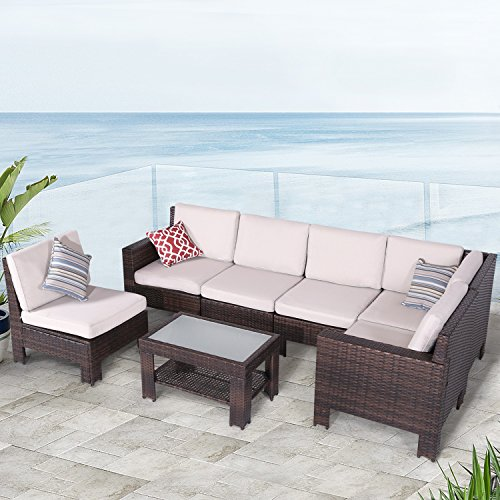 Diensday Outdoor Furniture 7-Piece Sectional Sofa Set All Weather Brown Wicker Deep Seating with Beige Waterproof Olefin Cushions & Sophisticated Glass Coffee Table | Patio, Backyard, Pool, Porch ()