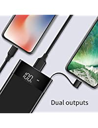 10000mAh Power Bank, Ultra Slim Portable Charger, External Battery Pack with Built- in Micro Cable, LED Display, Two Converts, USB Ports, LED Flashlight, Compatible with All Cell Phone(Black)