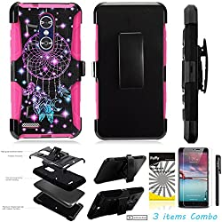 For ZTE Grand X4 Z956 /3Items [Clear LCD Film]+Stylus Pen+[Impact Resistance] Dual Layer [Belt Clip] Holster Combo [KickStand] Phone Case Dream Catcher - Pink