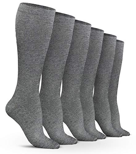 Women's Compression Socks (6 Pack) - L/XL - Gray - Graduated Muscle Support, Relief and Recovery. Great for Running, Medical, Athletic, Diabetic, Travel, Pregnancy, Nursing (8-15 - Stocking Great