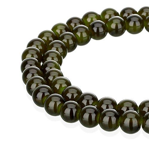 (RUBYCA 1 Strand 8MM Jade Imitation Round Painted Coated Glass Beads DIY Jewelry Making Dark Green)
