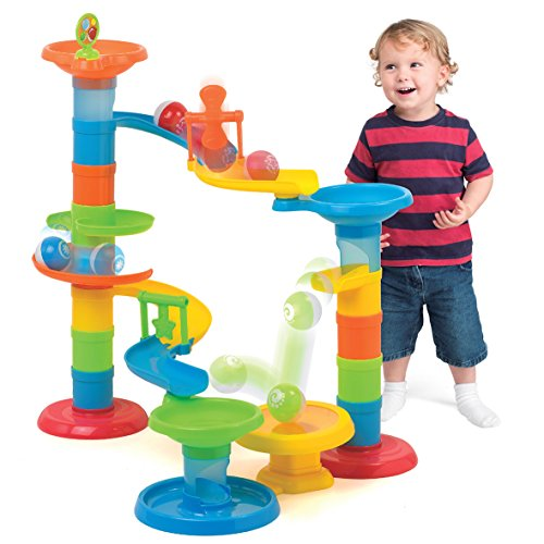 SainSmart Jr. HAP-P-KID Ball Drop Tower Activity with Bridge, Ball Ramp Baby Toy Ball Roll for Educational Family Unlimited Fun (30 PCS ) by SainSmart Jr.