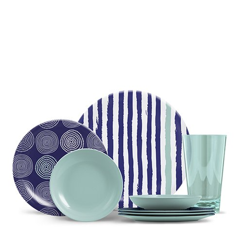 ThermoServ 16 Piece Melamine Dinnerware Set - Stripes & Spir