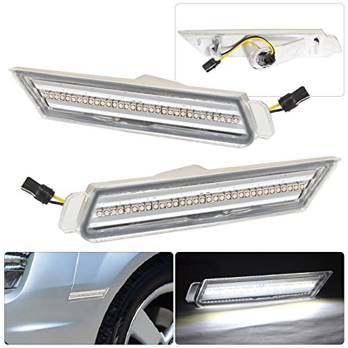 Chevrolet Chevy Camaro Racing Drag Drift Luxury White LED Front Bumper Side Markers Lights Chrome Housing Clear Lens Replacement Pair RH LH