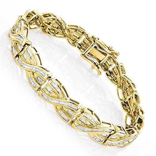 10k Baguette Bracelet (Luxurman Ladies 14K Unique Womens Baguette Cut 4 Ctw Diamond Bracelet For Her (Yellow Gold))
