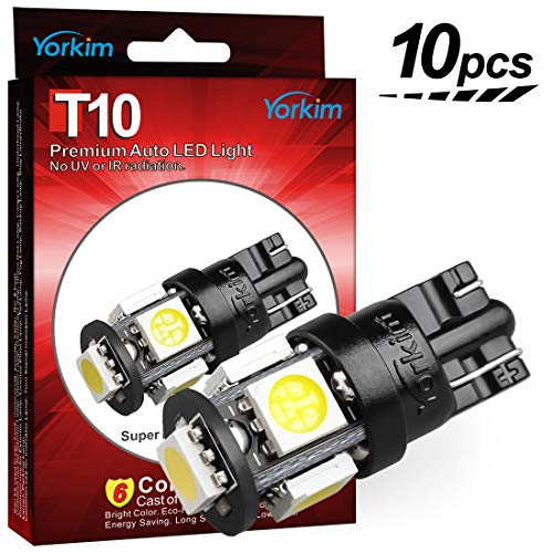 (Yorkim 194 LED Bulbs Xenon White 6000k Super Bright Newest 5th Generation, T10 LED Bulbs, 168 LED Bulb, LED Bulbs for Car Interior Dome Map Door Courtesy License Plate Lights W5W 2825, Pack of 10)