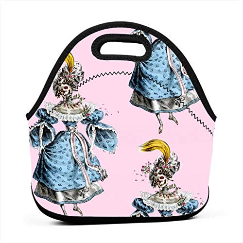 2 Skulls Skeletons Victorian Elegant Gothic Lolita Baroque Multifunctional Portable Bento Bag,Lunch Box Bag For School Travel Work Office