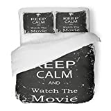 SanChic Duvet Cover Set Old Keep Calm Watch The Movie Vintage Filmmaking Theater Button Decorative Bedding Set Pillow Sham Twin Size